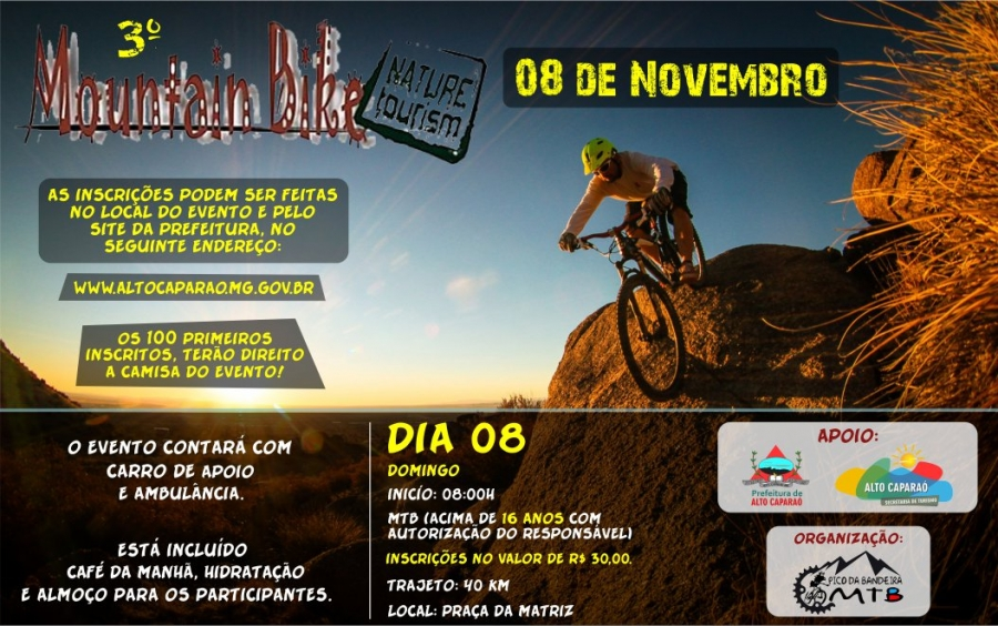 No dia 08 de Novembro de 2015, será realizado em Alto Caparáo  3º Circuito de MTB (Mountain Bike)